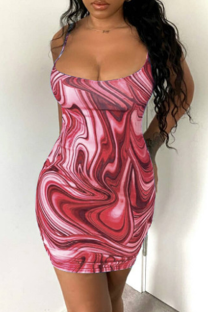 Red Sexy Print Backless Spaghetti Strap Pencil Skirt Dresses