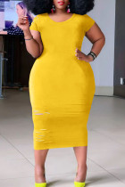 Yellow Casual Ripped Split Joint O Neck Straight Plus Size Dresses