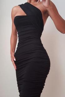 Black Sexy Solid Fold One Shoulder Pencil Skirt Dresses