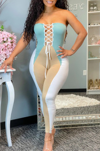 Multicolor Fashion Sexy Patchwork Hollowed Out Fold Strapless Skinny Jumpsuits
