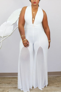 White Fashion Sexy V Neck Solid Stitching Plus Size