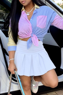 White Fashion Sexy Patchwork Basic Turndown Collar Long Sleeve Two Pieces