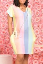 Rainbow Color Fashion Casual Striped Print Basic V Neck Short Sleeve Dress