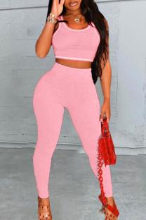 Pink Sportswear Solid Split Joint U Neck Sleeveless Two Pieces