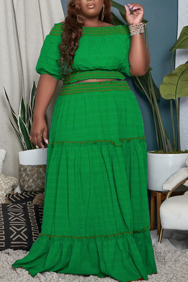 Green Casual Solid Split Joint Off the Shoulder Straight Plus Size Two Pieces