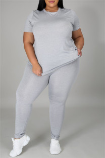 Grey Fashion Casual Solid Basic O Neck Plus Size Two Pieces