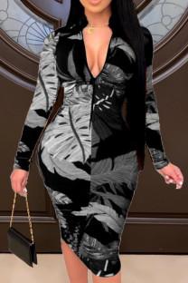 Black Fashion Casual Print Basic Zipper Collar Printed Dress