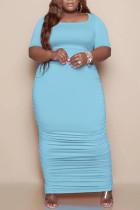 Light Blue Casual Solid Split Joint Fold U Neck Straight Plus Size Dresses