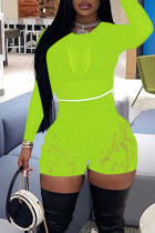 Fluorescent Green Sexy Solid Lace Split Joint See-through O Neck Long Sleeve Two Pieces