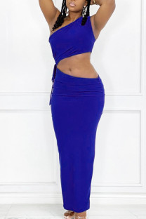 Blue Sexy Solid Split Joint Frenulum Oblique Collar Sleeveless Two Pieces