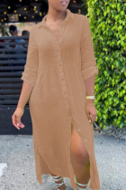 Khaki Casual Solid Slit Turndown Collar Shirt Dress Dresses