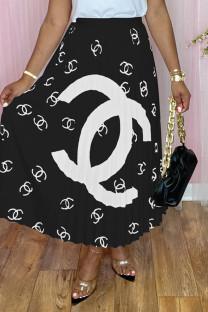 Black Fashion Casual Print Basic Regular High Waist Pleated Skirt