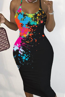 Black Sexy Print Split Joint Backless Spaghetti Strap Pencil Skirt Dresses