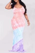 Colour Sexy Print Split Joint Spaghetti Strap Trumpet Mermaid Dresses