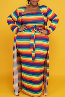 Rainbow Color Casual Striped Print Split Joint Strapless Long Sleeve Two Pieces