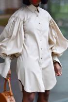 Cream White Fashion Elegant Solid Split Joint Fold Turndown Collar Tops