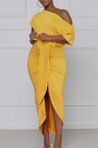 Yellow Sexy Solid Bandage Split Joint Asymmetrical Oblique Collar Irregular Dress Dresses