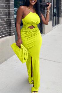 Fluorescent Yellow Sexy Solid Hollowed Out Halter Irregular Dress Dresses