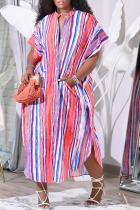 Colour Sexy Print Split Joint Turndown Collar Straight Plus Size Dresses