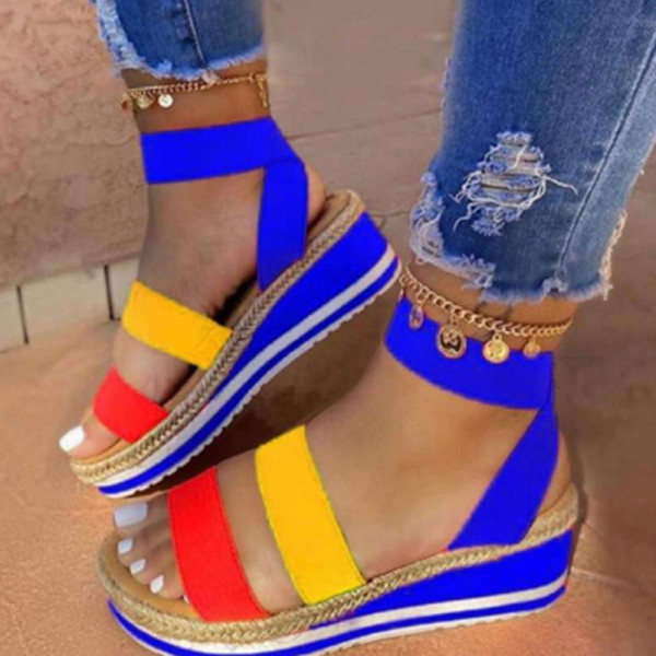 Blue Fashion Casual Split Joint Round Sandals