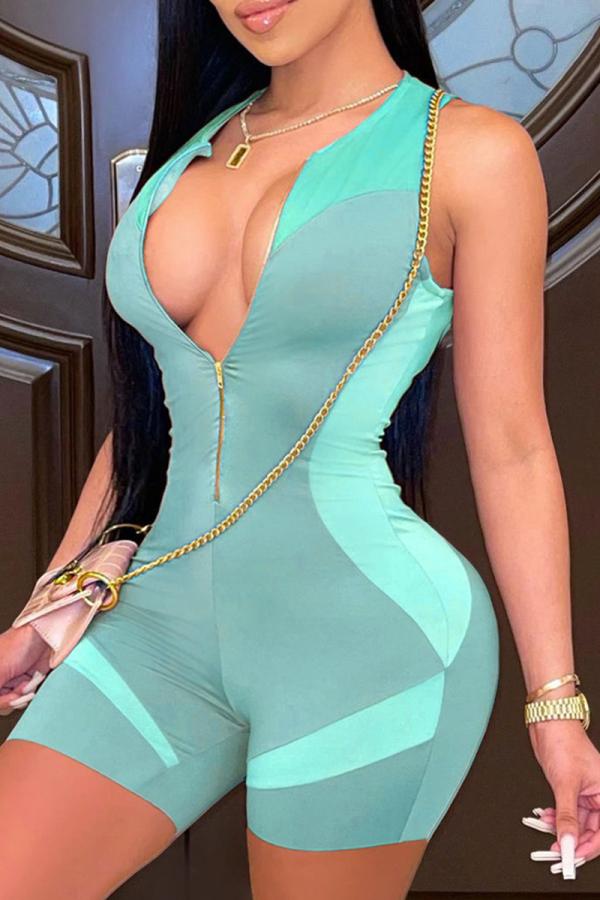 Blue Sexy Solid Split Joint Zipper Collar Skinny Jumpsuits