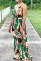 Green Fashion Sexy Print Backless V Neck Sling Dress Dresses