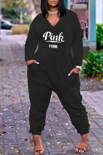 Black Fashion Casual Letter Print Pocket V Neck Regular Jumpsuits