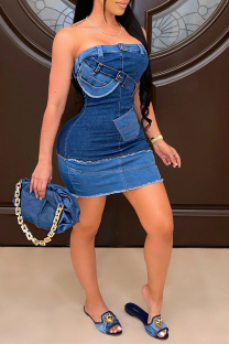Blue Sexy Print Split Joint Strapless Pencil Skirt Dresses