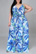 Light Blue Fashion Casual Print Backless V Neck Sling Dress