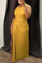 Yellow Sexy Solid High Opening O Neck Irregular Dress Dresses