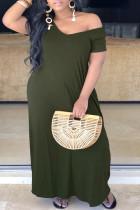 Green Fashion Casual Plus Size Solid Basic V Neck Short Sleeve Dress