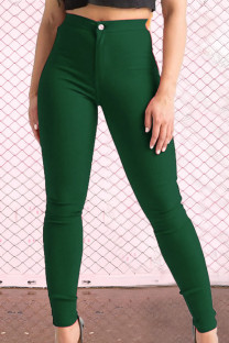 Green Street Solid Zipper Skinny Mid Waist Pencil Solid Color Bottoms