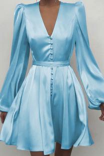 Sky Blue Sexy Print Split Joint V Neck Cake Skirt Dresses