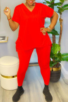 Red Casual Solid Split Joint V Neck Plus Size Two Pieces