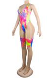 Pink Fashion Sexy Print Tie Dye Split Joint Backless Swimwears