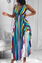 Light Blue Sexy Striped Print Split Joint Backless Asymmetrical Halter Irregular Dress Dresses