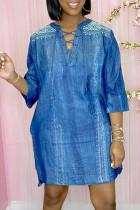 Blue Fashion Casual Print Basic V Neck Half Sleeve Dresses