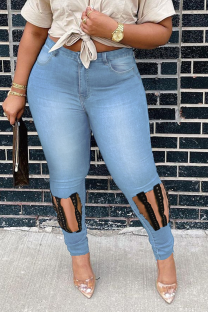 Light Blue Casual Solid Ripped Plus Size Jeans