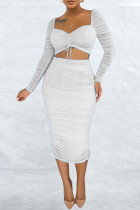 White Fashion Sexy Solid Split Joint Fold Square Collar Long Sleeve Two Pieces