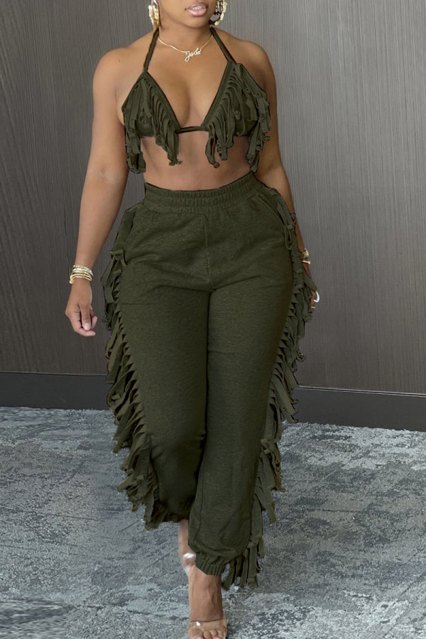 Army Green Casual Solid Tassel Split Joint Frenulum Halter Sleeveless Two Pieces