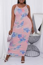 Pink Sexy Print Split Joint Spaghetti Strap Pencil Skirt Plus Size Dresses
