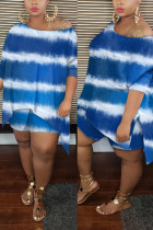 Blue Sexy Patchwork Print asymmetrical Straight Long Sleeve Two Pieces