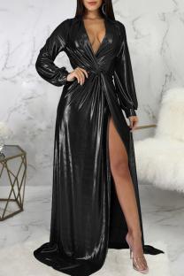 Black Sexy Solid Split Joint V Neck Irregular Dress Dresses