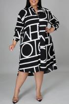 Black Fashion Casual Plus Size Print Basic Turndown Collar Shirt Dress