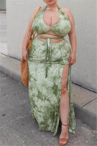 Green Sexy Print Backless Slit Strap Design Halter Plus Size Two Pieces