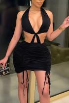 Black Sexy Solid Split Joint Frenulum Fold Halter Pencil Skirt Dresses