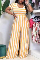 Yellow Sexy Striped Split Joint Square Collar Plus Size Two Pieces