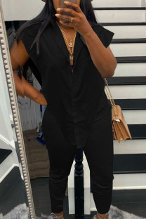 Black Sexy Solid Split Joint Buckle Asymmetrical Turndown Collar Sleeveless Two Pieces