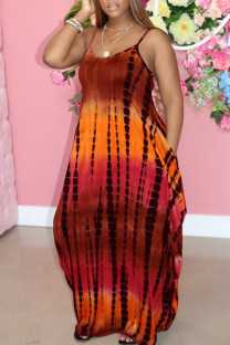 Coffee Sweet Print Split Joint Spaghetti Strap Sling Dress Dresses