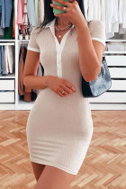 Apricot Fashion Casual Solid Split Joint Turndown Collar Short Sleeve Dress